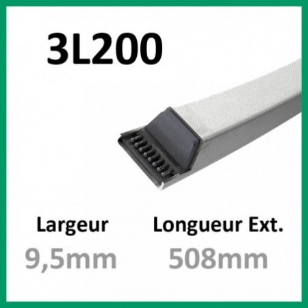 Courroie 3L200 - Teknic - 1-courroie-tondesue.com