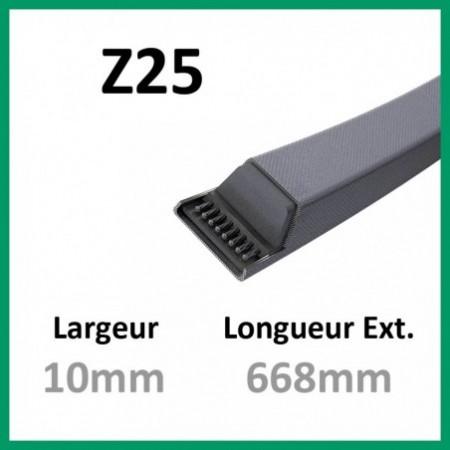 Courroie Z25 - Teknic - 1-courroie-tondesue.com