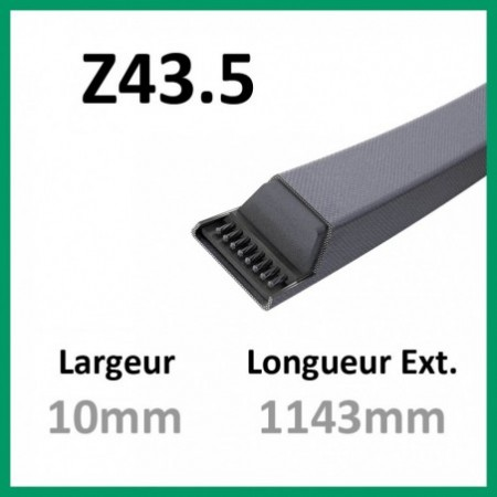 Courroie Z43.5 - Continental - 1-courroie-tondesue.com