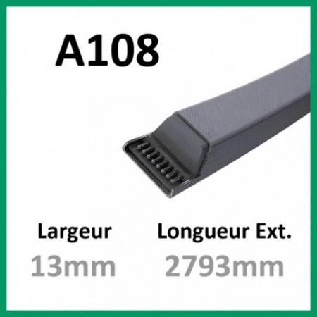 Courroie A108 - Teknic - 1-courroie-tondesue.com