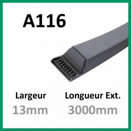 Courroie A116 - Teknic - 1-courroie-tondesue.com