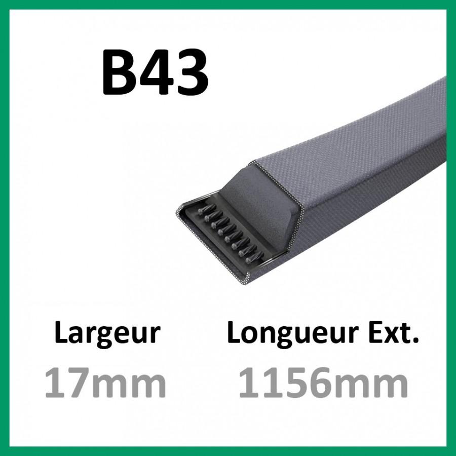 Courroie B43 - Teknic - 1-courroie-tondesue.com