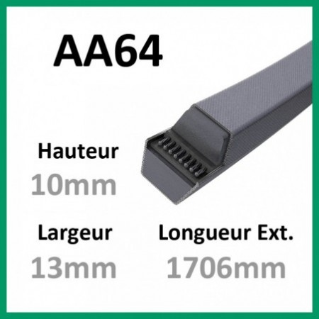Courroie Hexagonale AA64 - Continental - 1-courroie-tondesue.com