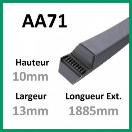Courroie Hexagonale AA71 - Teknic - 1-courroie-tondesue.com