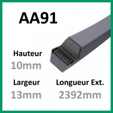 Courroie Hexagonale AA91 - Continental - 1-courroie-tondesue.com