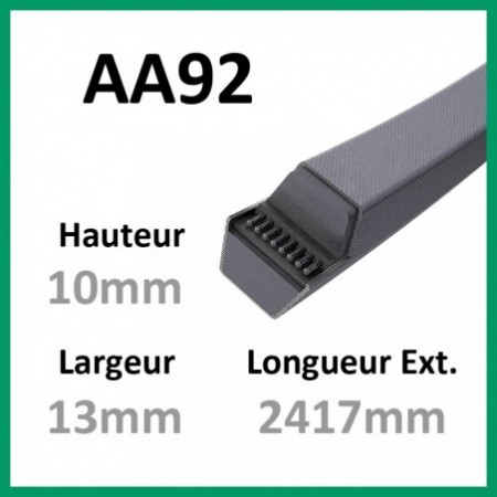 Courroie Hexagonale AA92 - Continental - 1-courroie-tondesue.com
