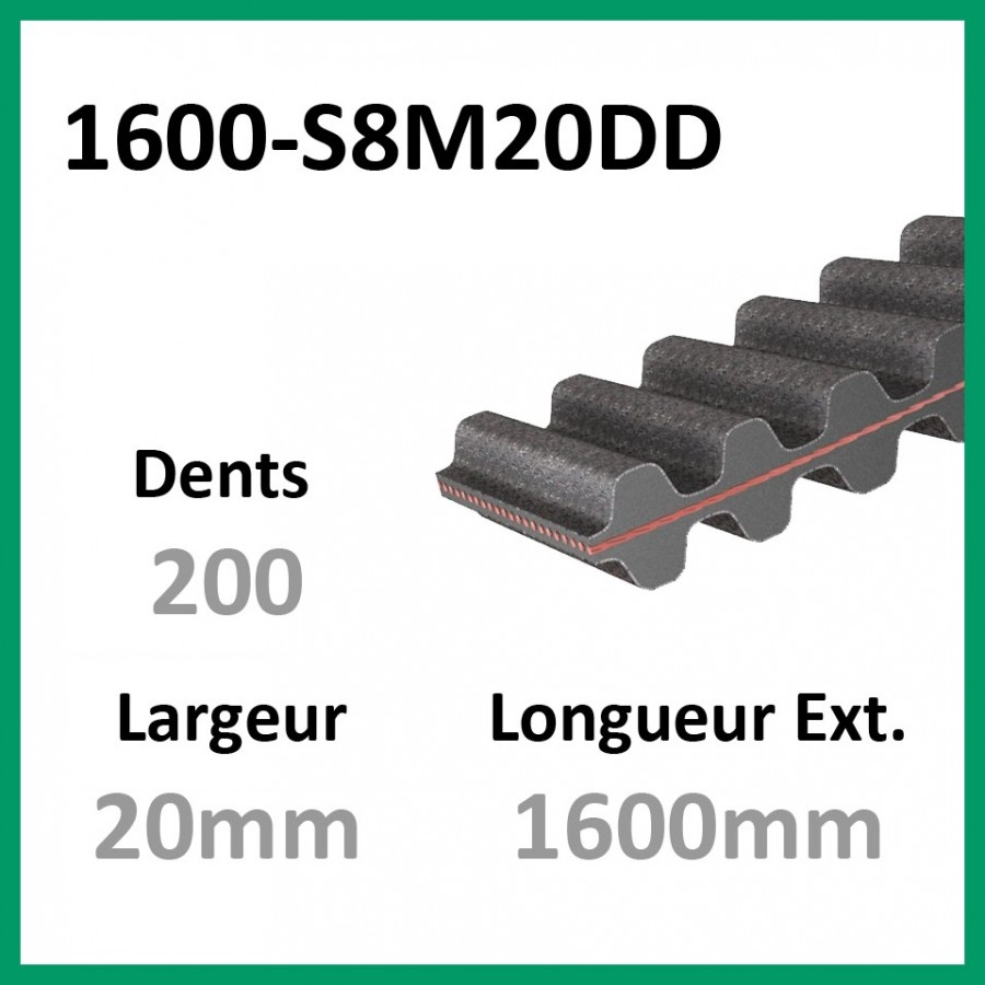 Courroie 1600-DS8M20 Double denture - 1-courroie-tondesue.com