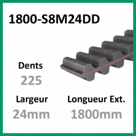 Courroie 1800-DS8M24 Double denture - 1-courroie-tondesue.com