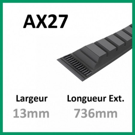 Courroie AX27 - Continental - 1-courroie-tondesue.com